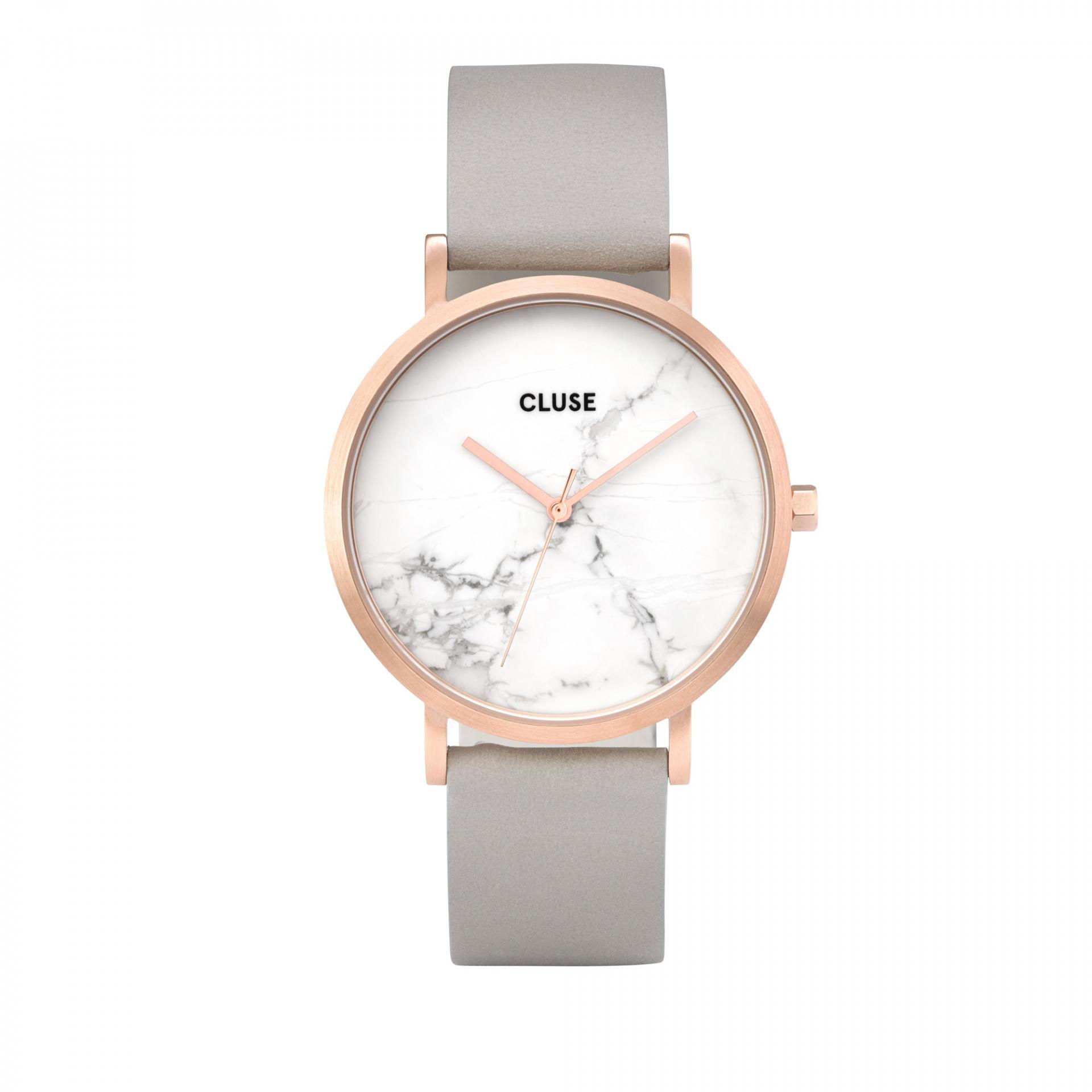 CLUSE Hodinky Cluse La Roche Rose gold White marble/Grey, šedá barva, bílá barva, měděná barva, sklo, kov, kůže, mramor