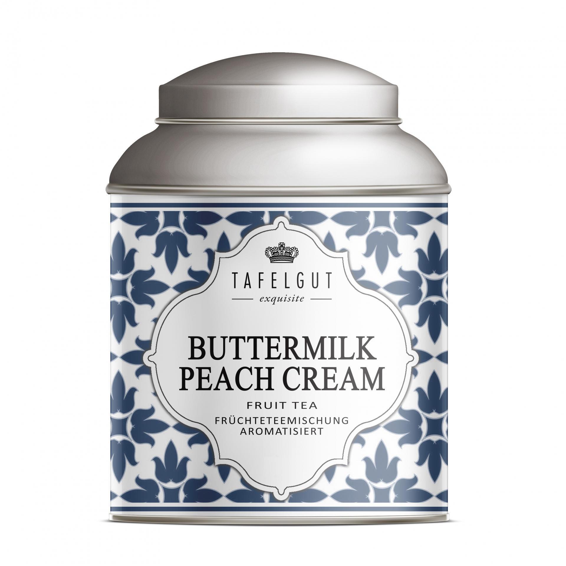 TAFELGUT Mini ovocný čaj Buttermilk Peach Cream - 30gr, modrá barva, bílá barva, kov