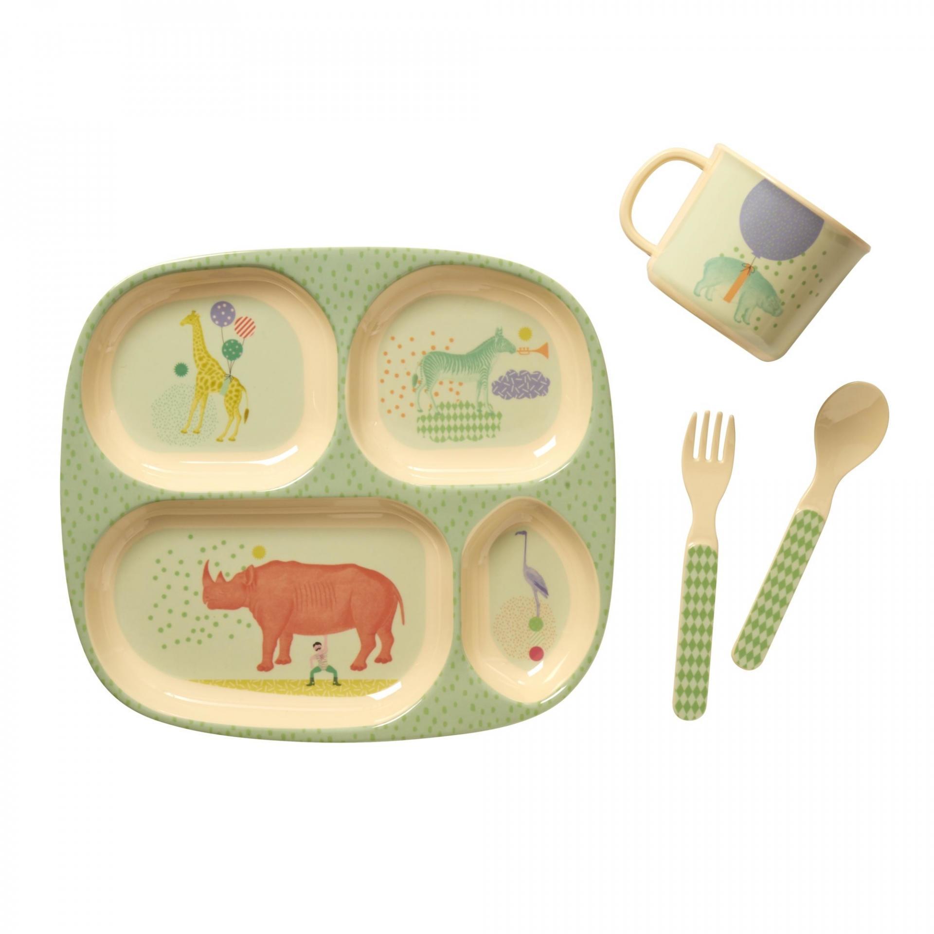 rice Sada melaminového nádobí pro kluky - 4 ks, zelená barva, žlutá barva, multi barva, melamin
