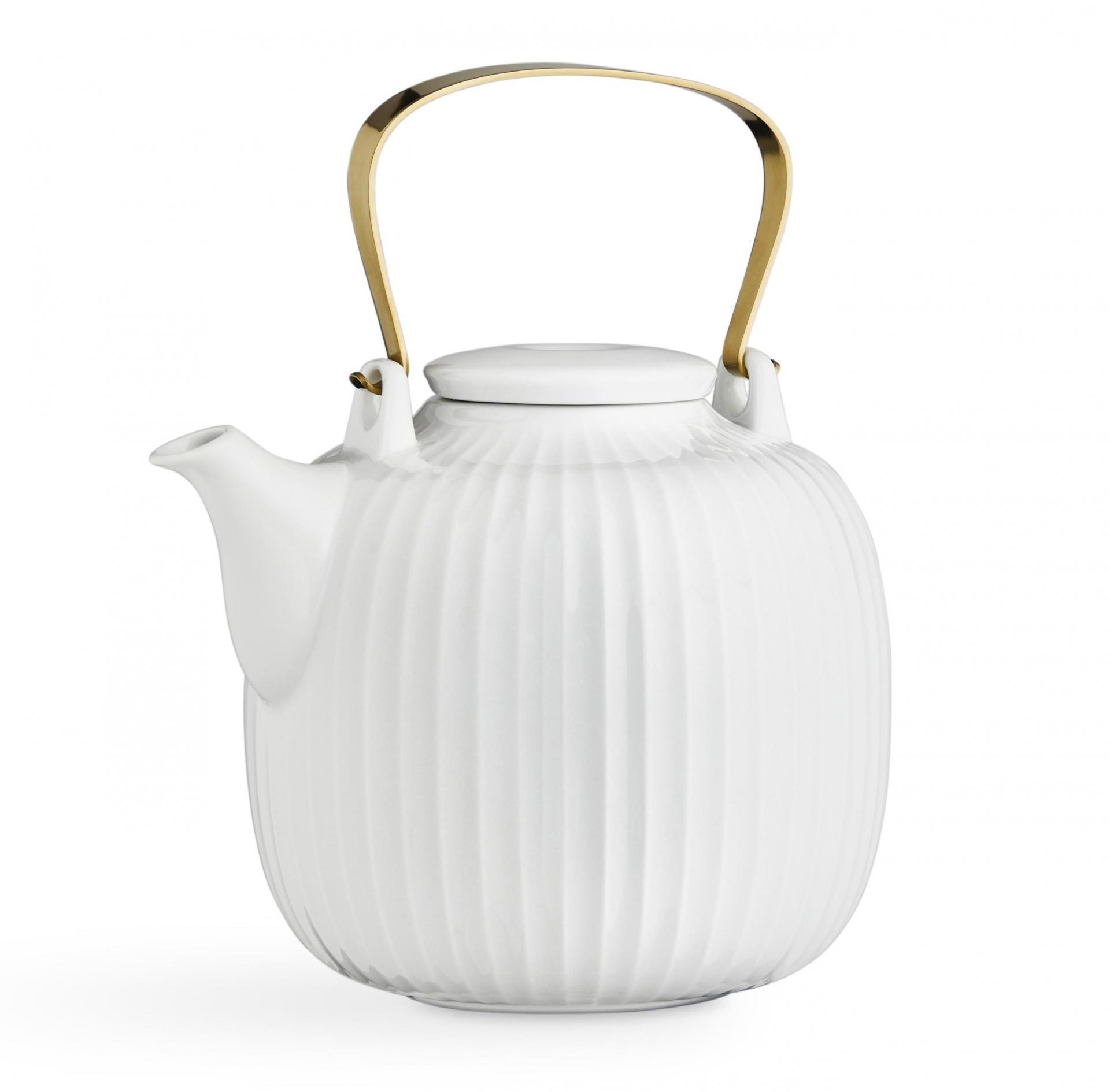 KÄHLER Porcelánová čajová konvice Hammershøi White, bílá barva, zlatá barva, porcelán