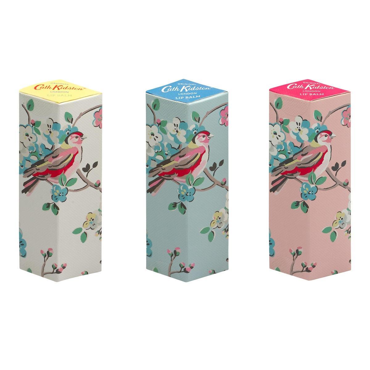 Cath Kidston Balzámy na rty Blossom Birds - set 3 ks, růžová barva, modrá barva, žlutá barva, plast, papír