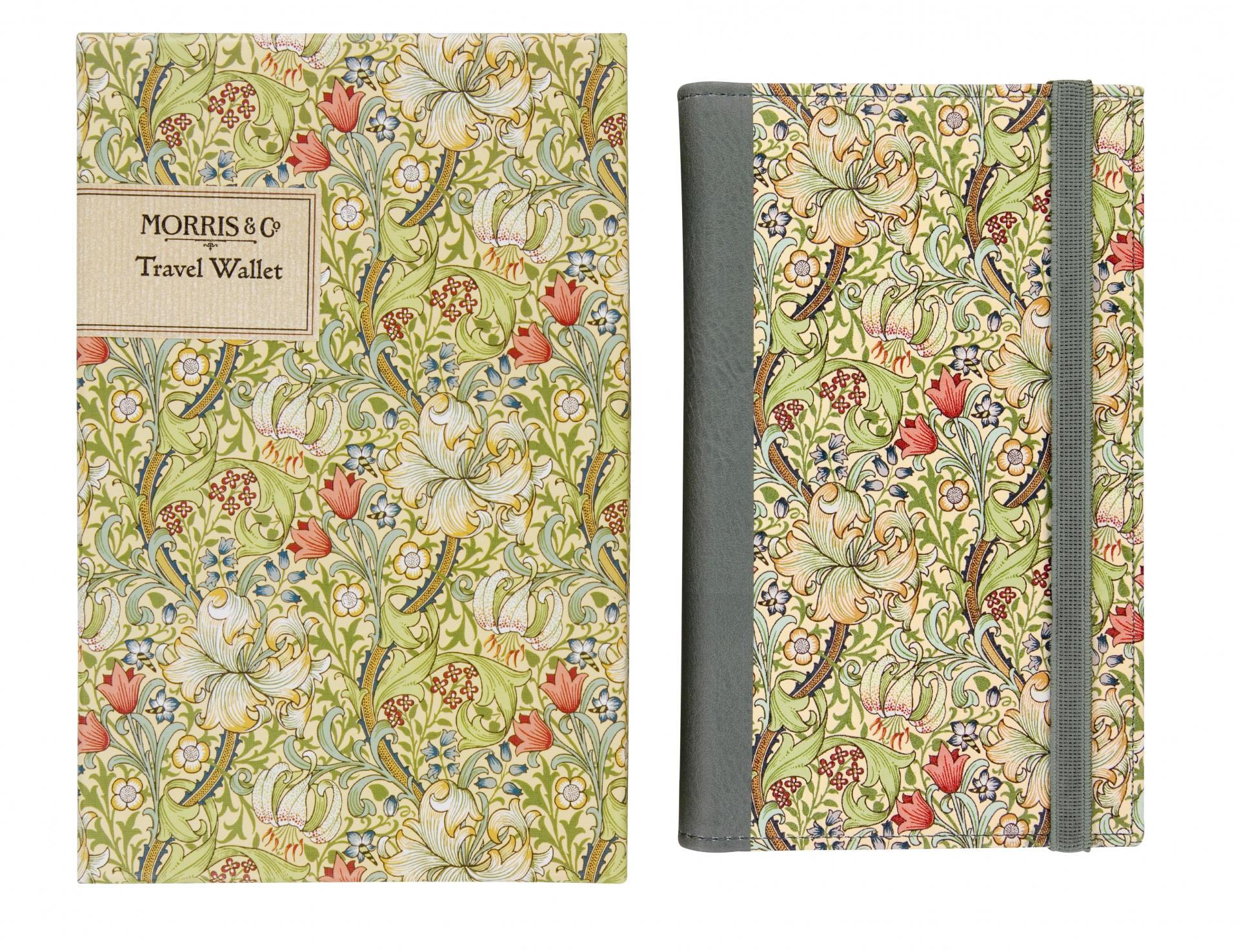 MORRIS & Co. Složka na cestovní doklady v dárkové krabičce Golden Lily, zelená barva, žlutá barva, papír, textil, kůže