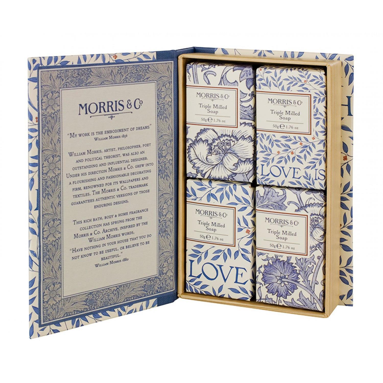 MORRIS & Co. Dárková sada mýdel Love Is Enough 4x50 g, modrá barva, krémová barva, papír