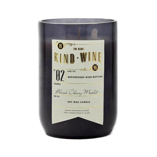 dw HOME Vonná svíčka ve skle - Merlot a černé třešně 368gr, šedá barva, sklo