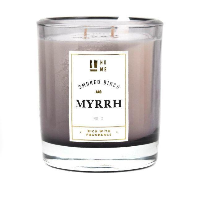 dw HOME Vonná svíčka ve skle - Bříza s myrhou 396gr, šedá barva, sklo