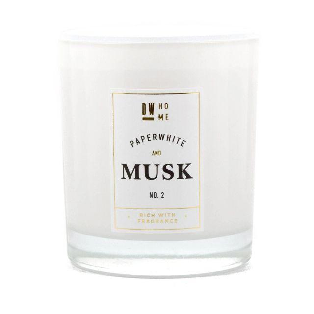 dw HOME Vonná svíčka ve skle - Bílé květy a mošus 396gr, bílá barva, sklo