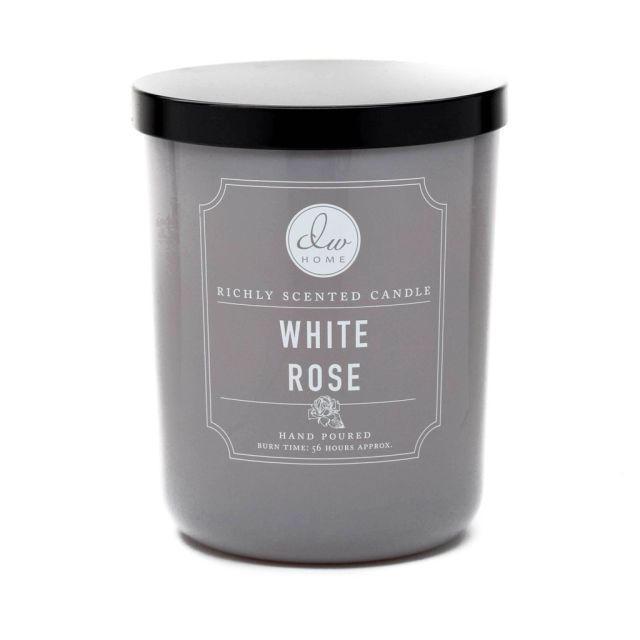 dw HOME Vonná svíčka ve skle - Bílá růže 425gr, šedá barva, sklo