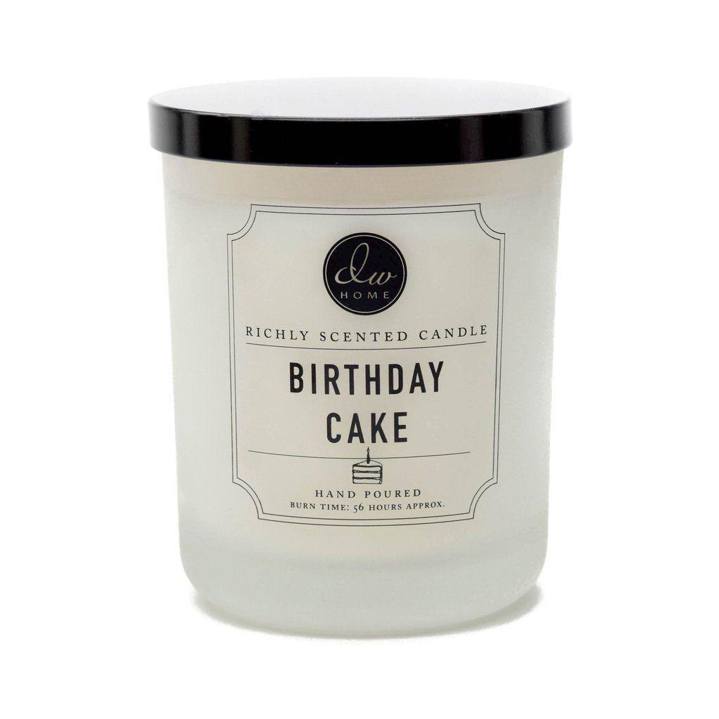 dw HOME Vonná svíčka ve skle - Narozeninový dort 425gr, černá barva, bílá barva, čirá barva, sklo