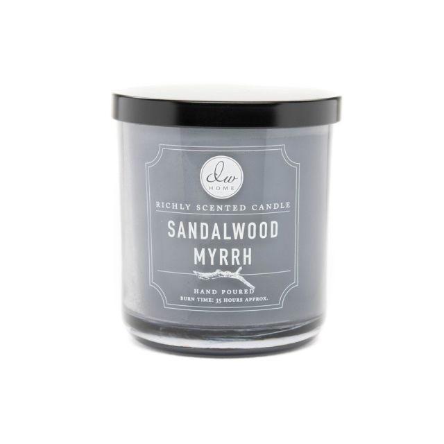 dw HOME Vonná svíčka ve skle - Santalové dřevo a myrha 255gr, šedá barva, sklo