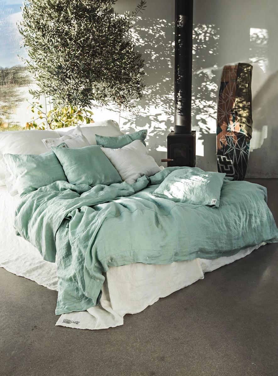 Lovely Linen Přírodní lněné povlečení Misty Ocean, zelená barva, textil