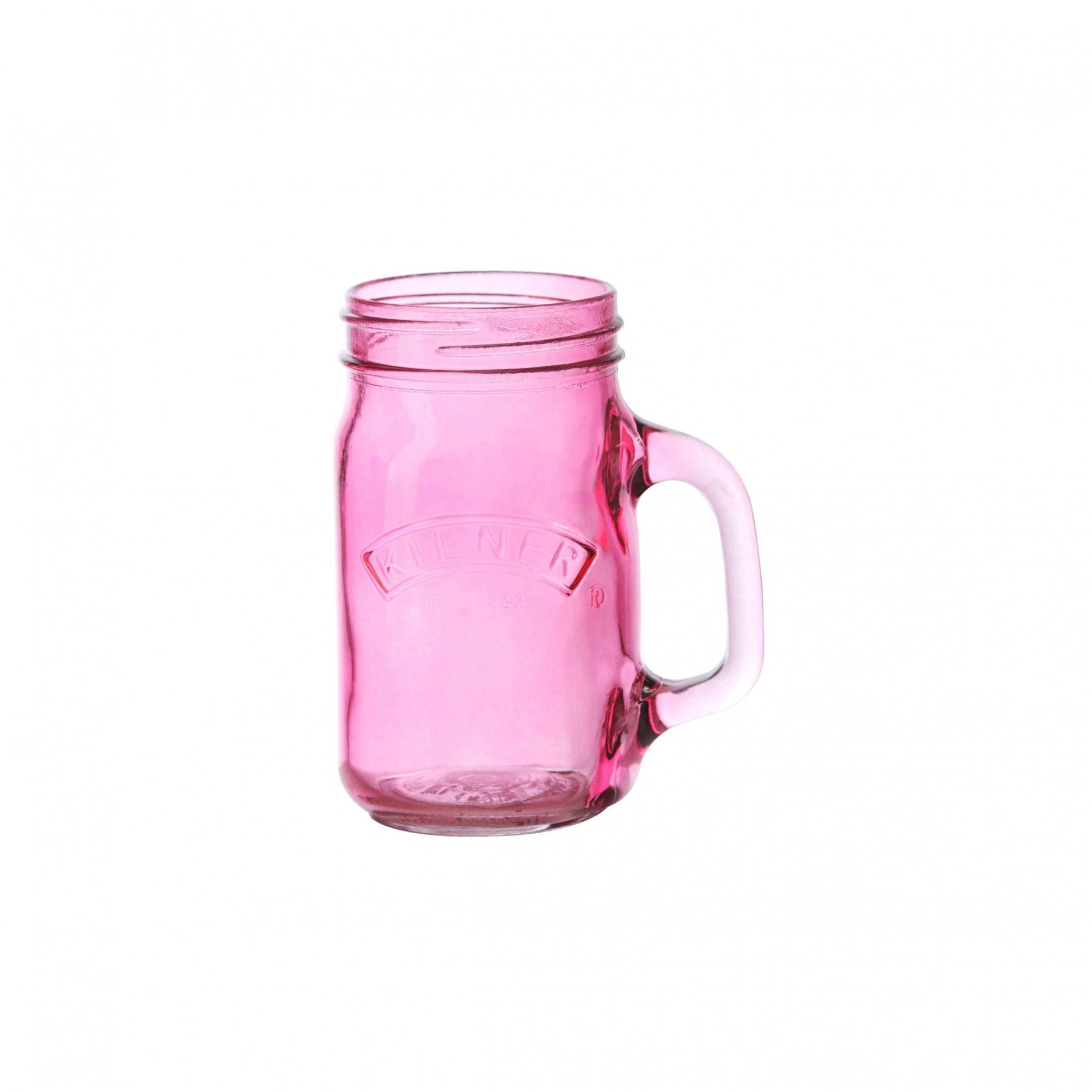 KILNER Sklenice s uchem Pink 350 ml, růžová barva, sklo