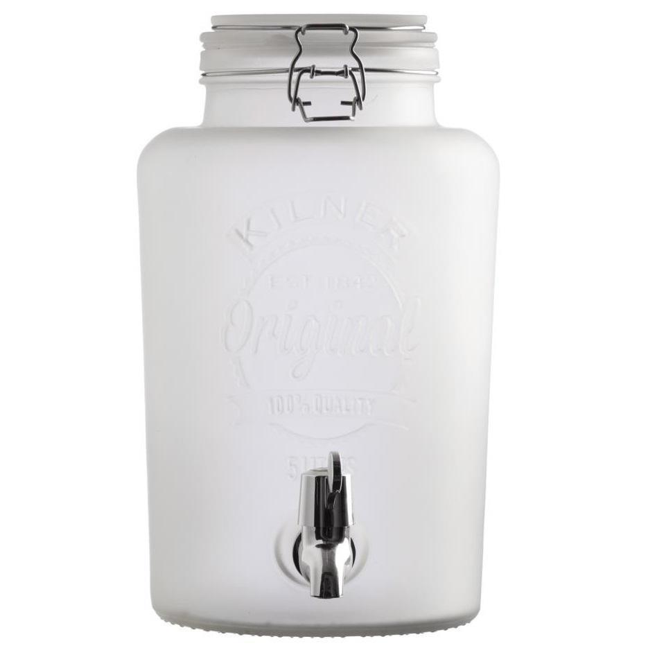 KILNER Nádoba na limonádu KILNER White Frosted 5 l, bílá barva, kov
