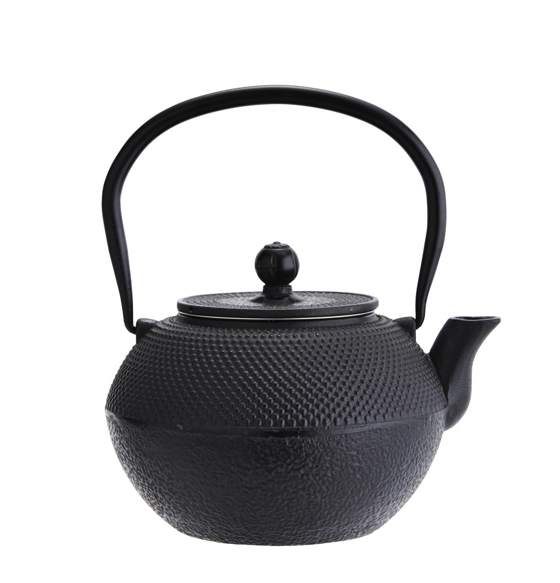 Madam Stoltz Litinová čajová konvice Black 1,2 l, černá barva, litina