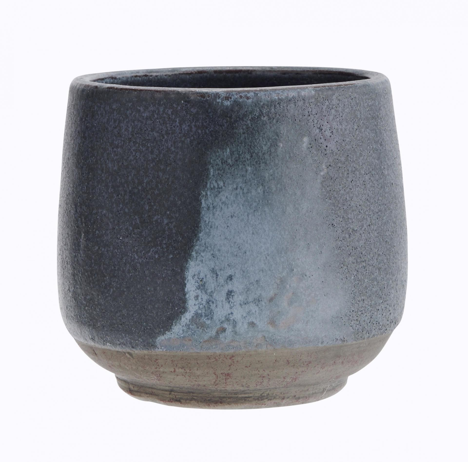MADAM STOLTZ Keramický květináč Blue/grey, modrá barva, keramika