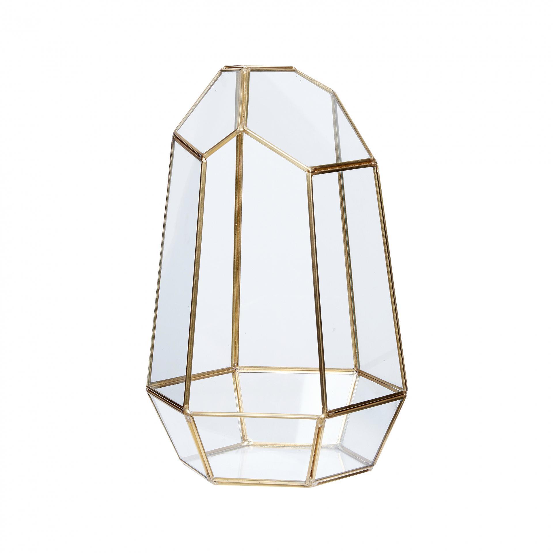 Hübsch Skleněný box Polyhedron Brass, zlatá barva, sklo, kov