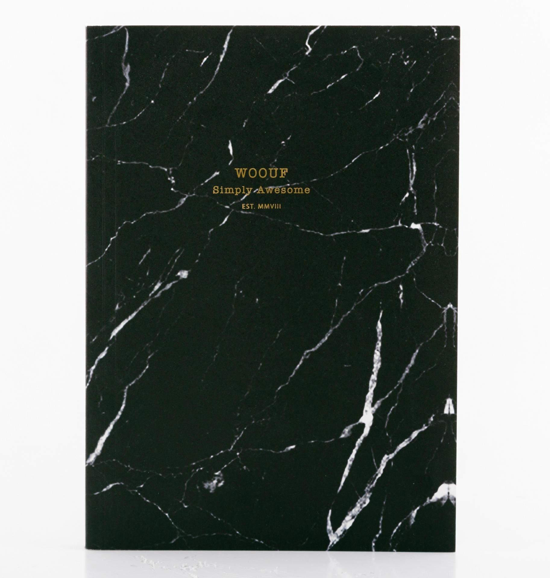 Woouf! Notes Black Marble A5, černá barva, papír