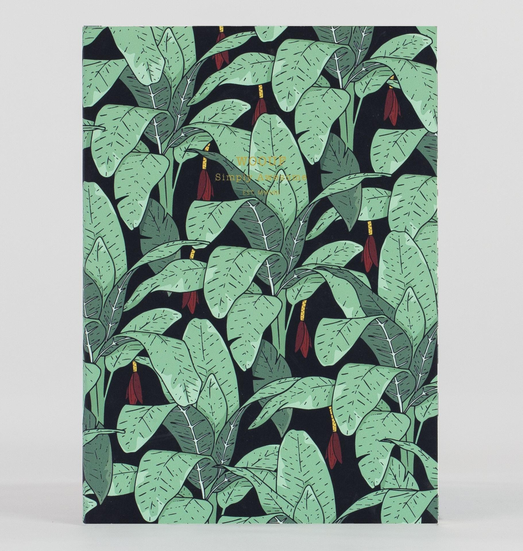 Woouf! Notes Jungle A5, zelená barva, černá barva, papír