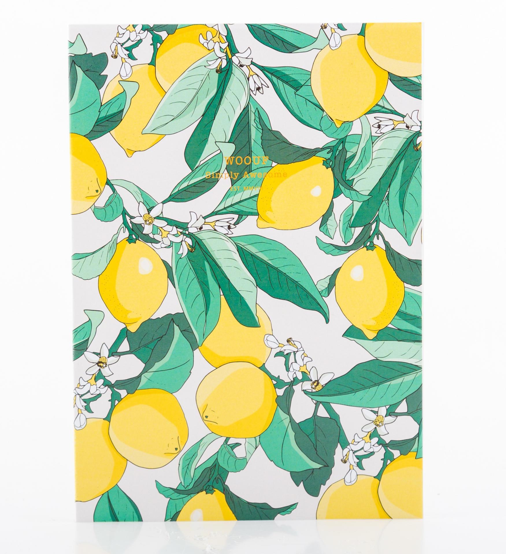Woouf! Notes Lemon A5, zelená barva, žlutá barva, papír