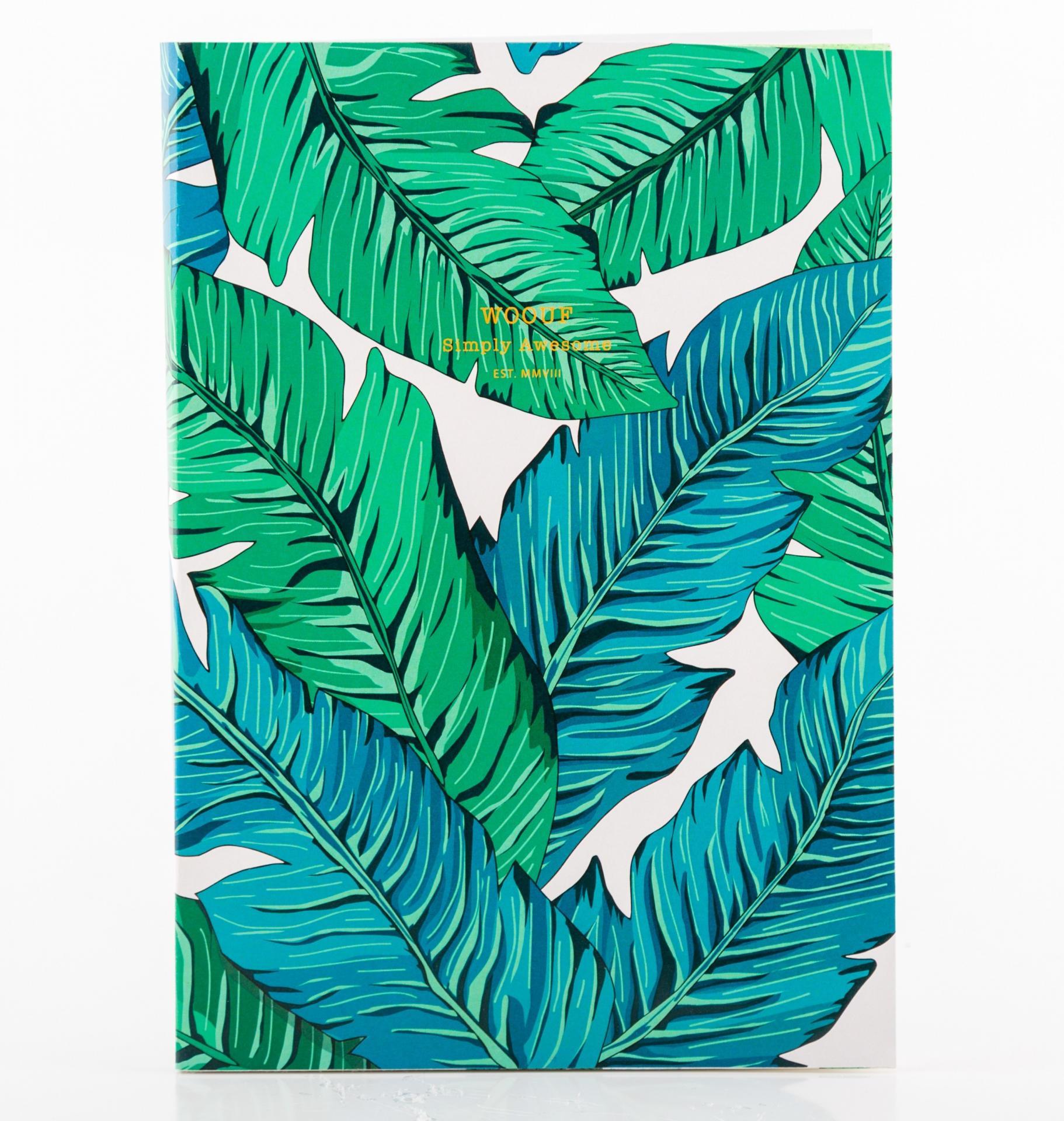 Woouf! Notes Tropical A5, zelená barva, papír