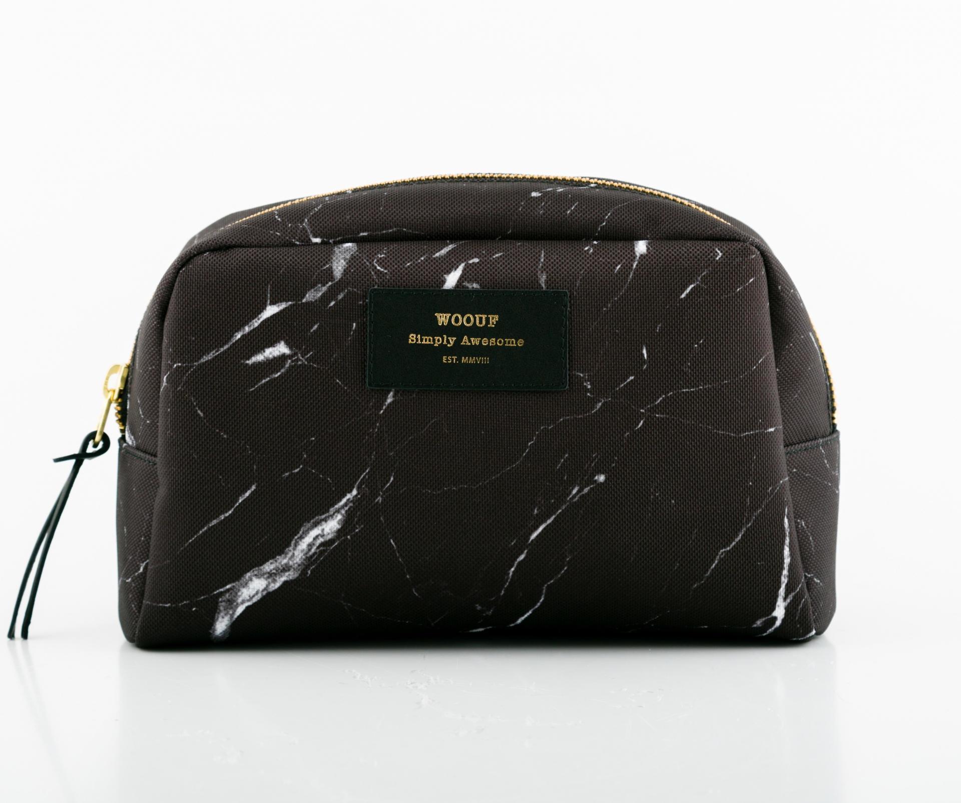 Woouf! Kosmetická taška Black Marble, černá barva, textil