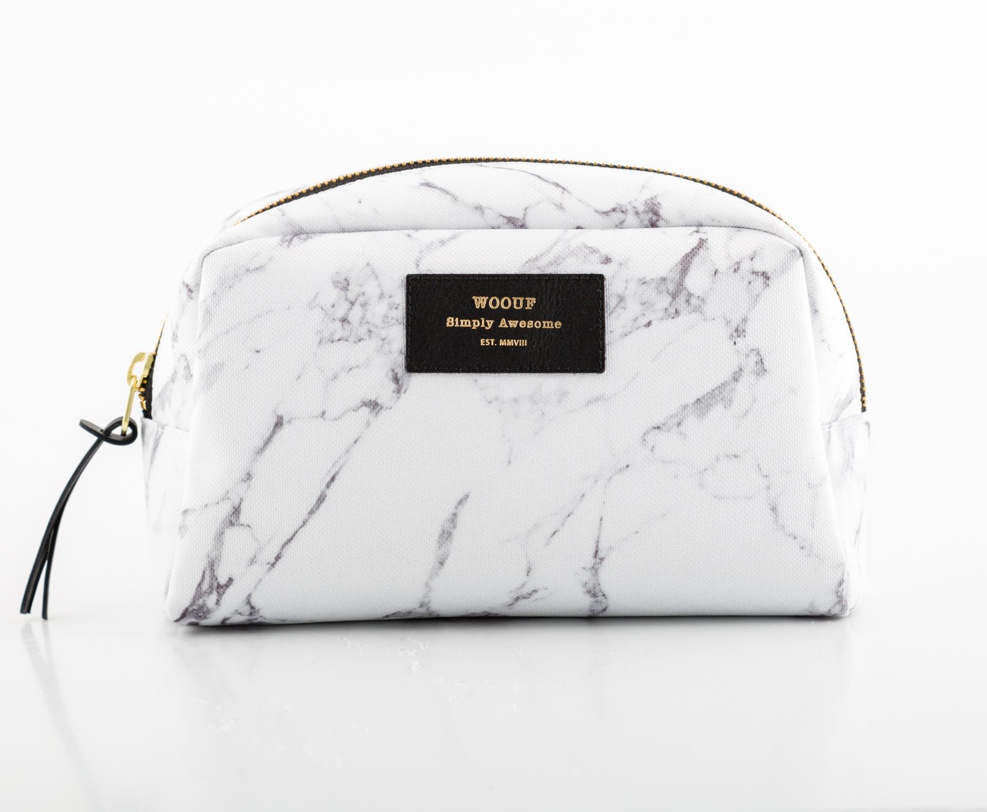 Woouf! Kosmetická taška White Marble, šedá barva, bílá barva, textil
