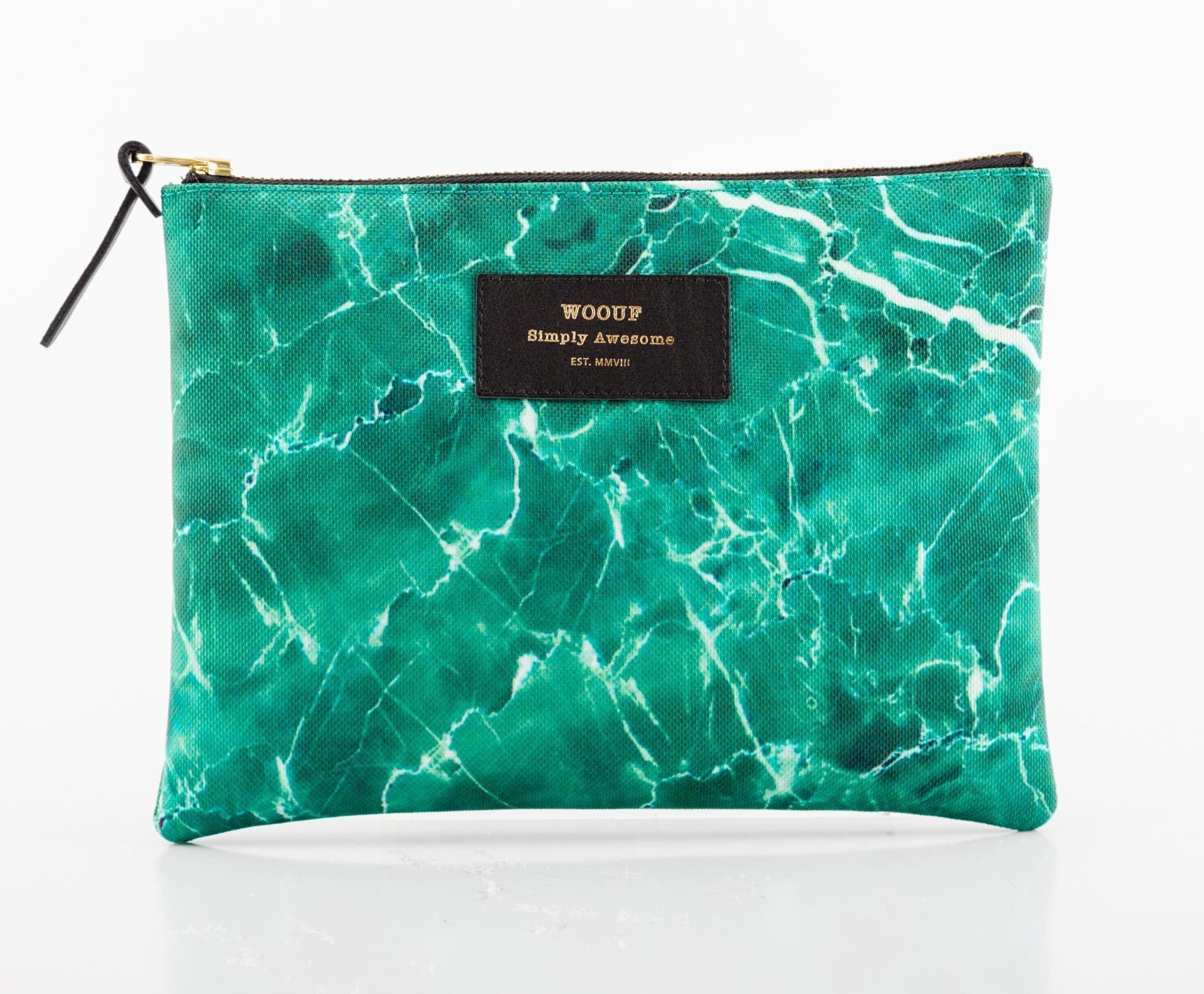 Woouf! Taštička Green Marble, zelená barva, textil