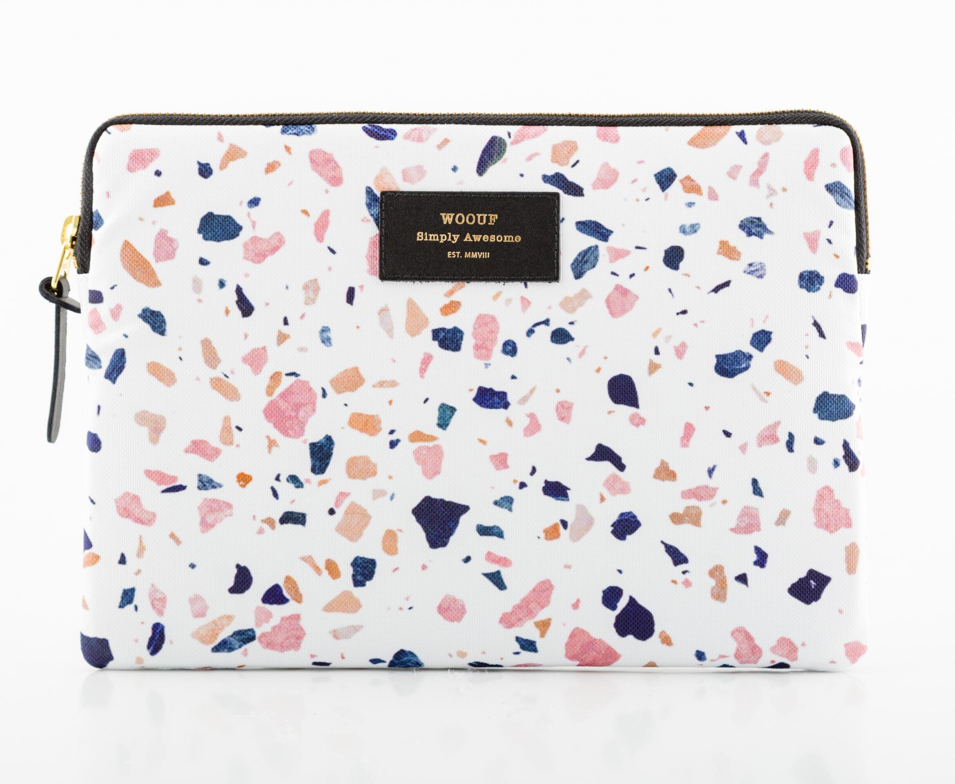 Woouf! Obal na iPad White Terrazzo, růžová barva, bílá barva, textil