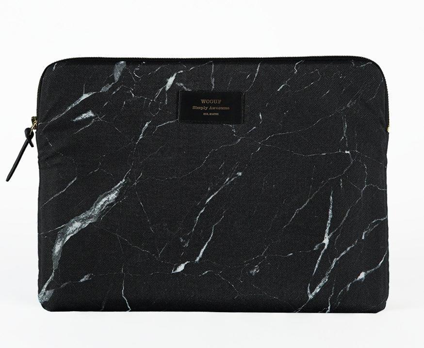 Woouf! Obal na 13'' notebook Black Marble, černá barva, textil