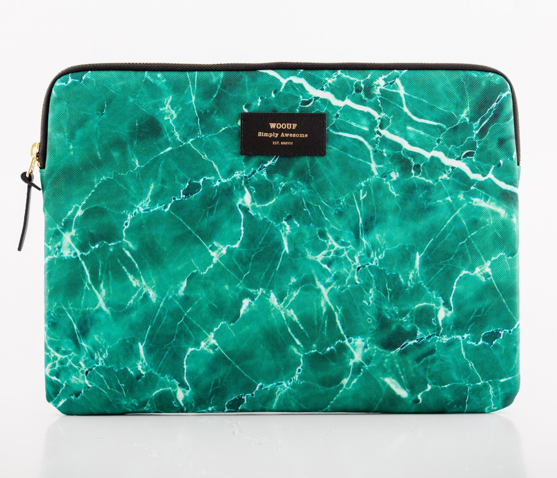 Woouf! Obal na 13'' notebook Green Marble, zelená barva, textil