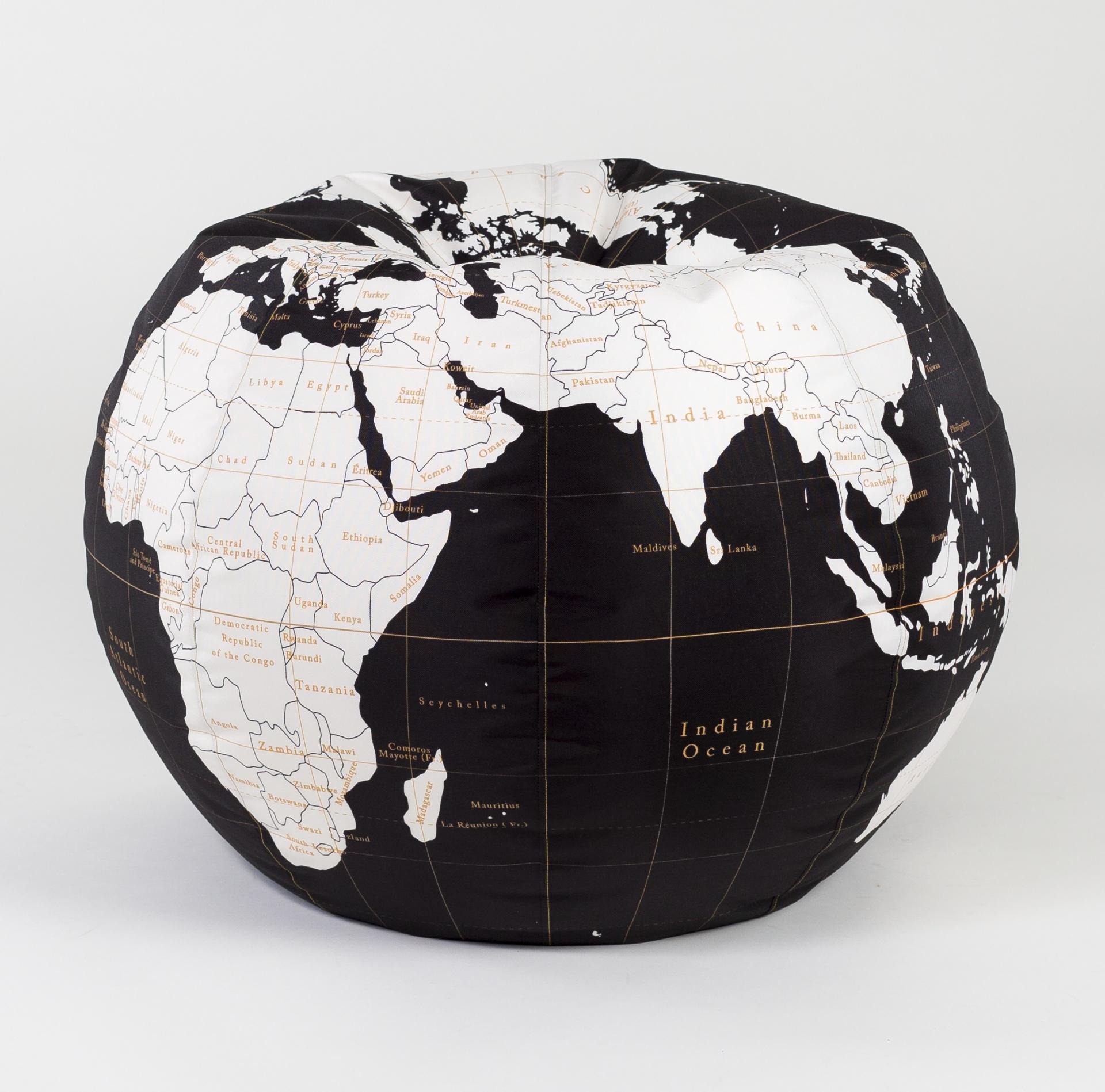 Woouf! Sedací vak Small Globe, černá barva, krémová barva, plast, textil