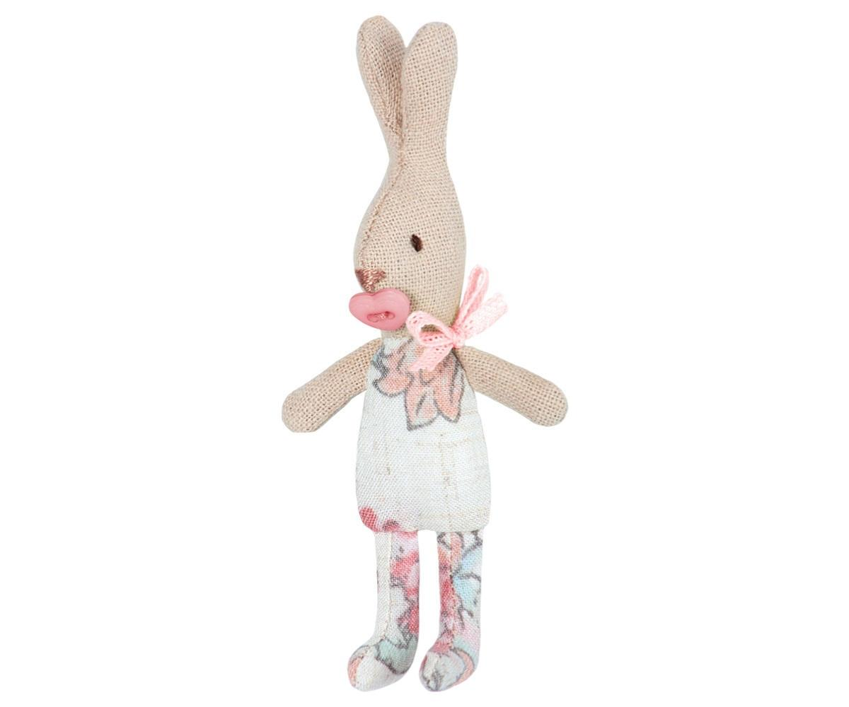 Maileg Mini zajíček MY girl, růžová barva, bílá barva, textil