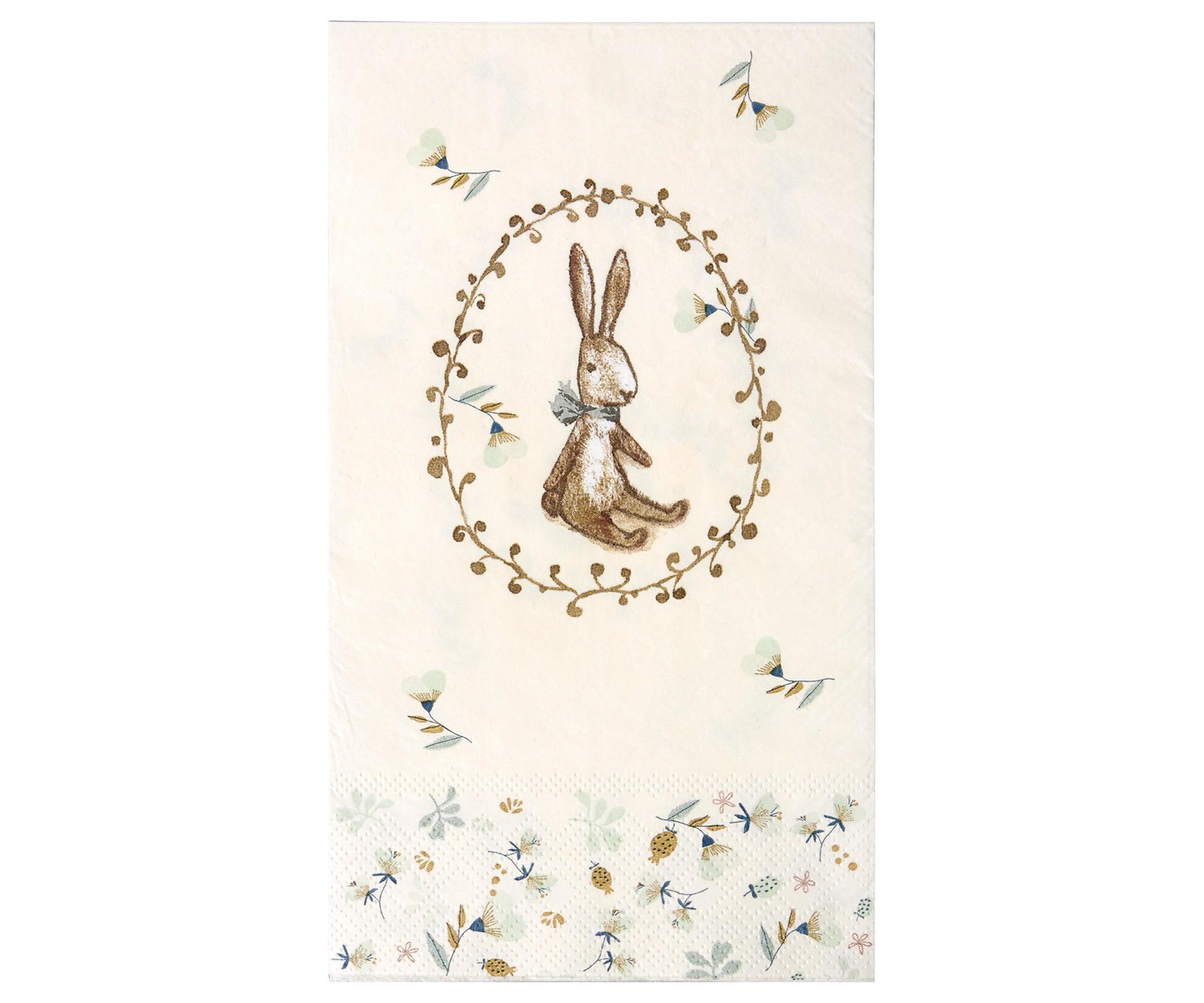 Maileg Papírové ubrousky Bunny, modrá barva, hnědá barva, krémová barva, papír