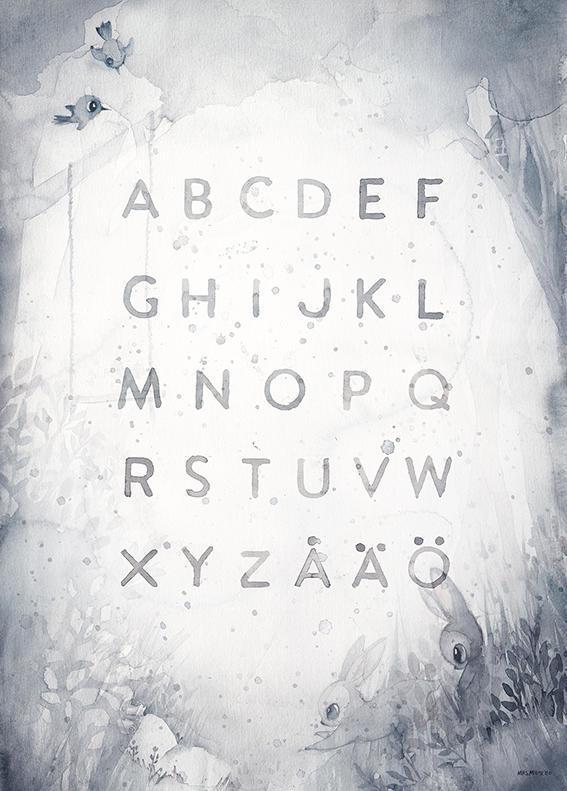 MRS. MIGHETTO Plakát ABC 50x70 cm - Limited Edition, šedá barva, bílá barva, papír