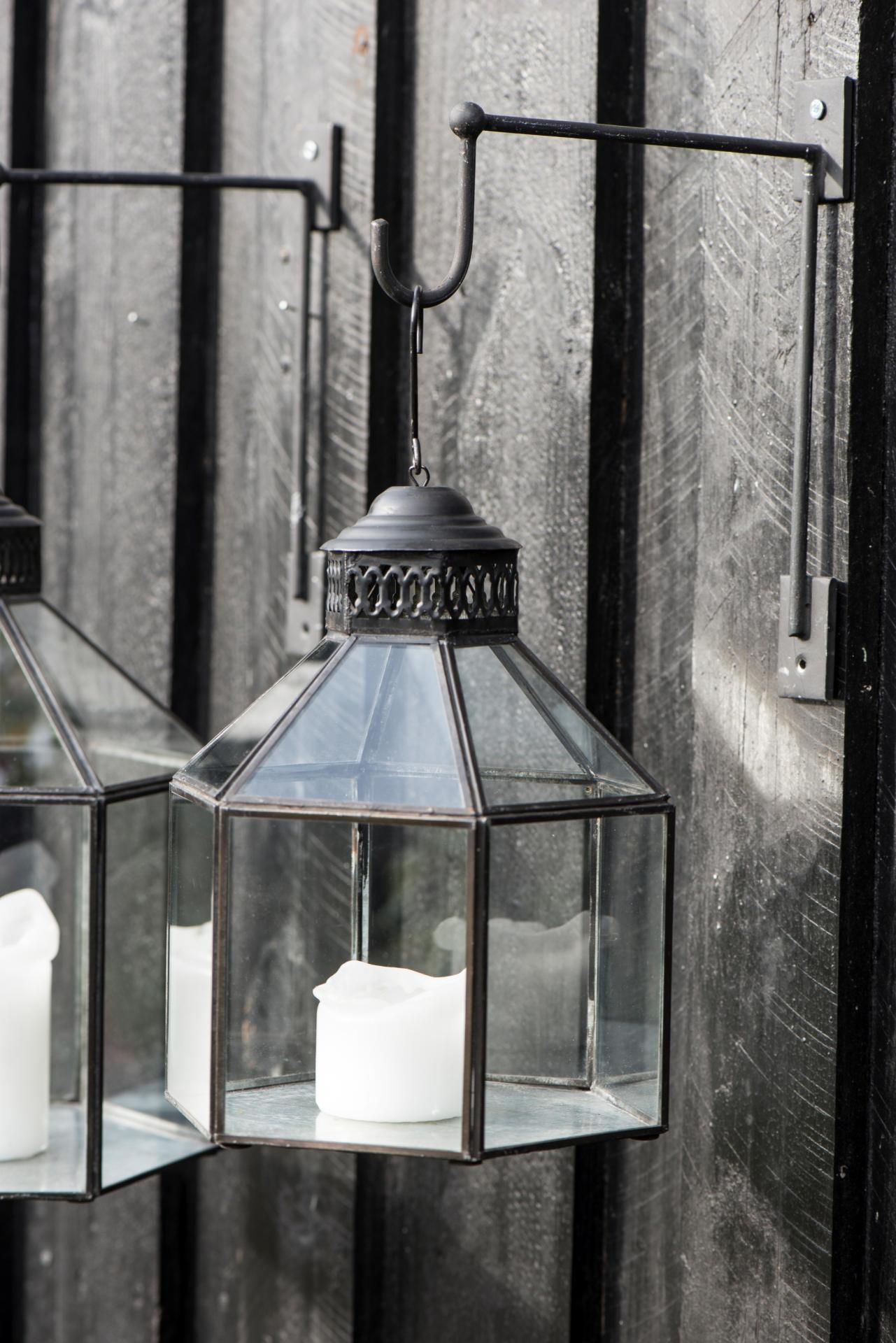 IB LAURSEN Lucerna na zavěšení Hexagonal, černá barva, čirá barva, sklo, kov