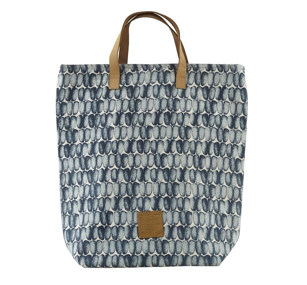 house doctor Nákupní taška Braid, modrá barva, textil, kůže
