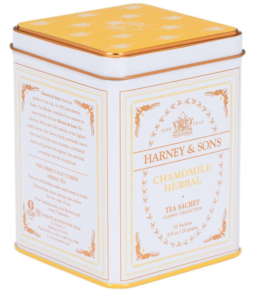 HARNEY & SONS Bylinný čaj Chamomile, žlutá barva, bílá barva, kov