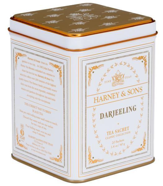 HARNEY & SONS Černý čaj Darjeeling, bílá barva, hnědá barva, kov