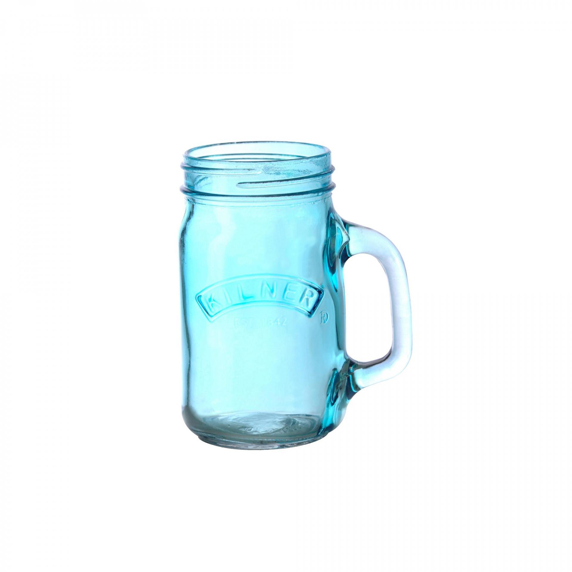 KILNER Sklenice s uchem Blue 350 ml, modrá barva, sklo