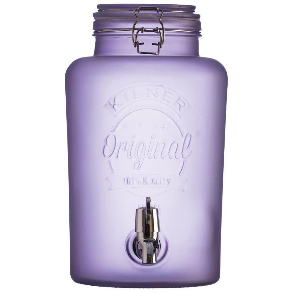 KILNER Nádoba na limonádu KILNER Purple Frosted 5 l, fialová barva, sklo, kov
