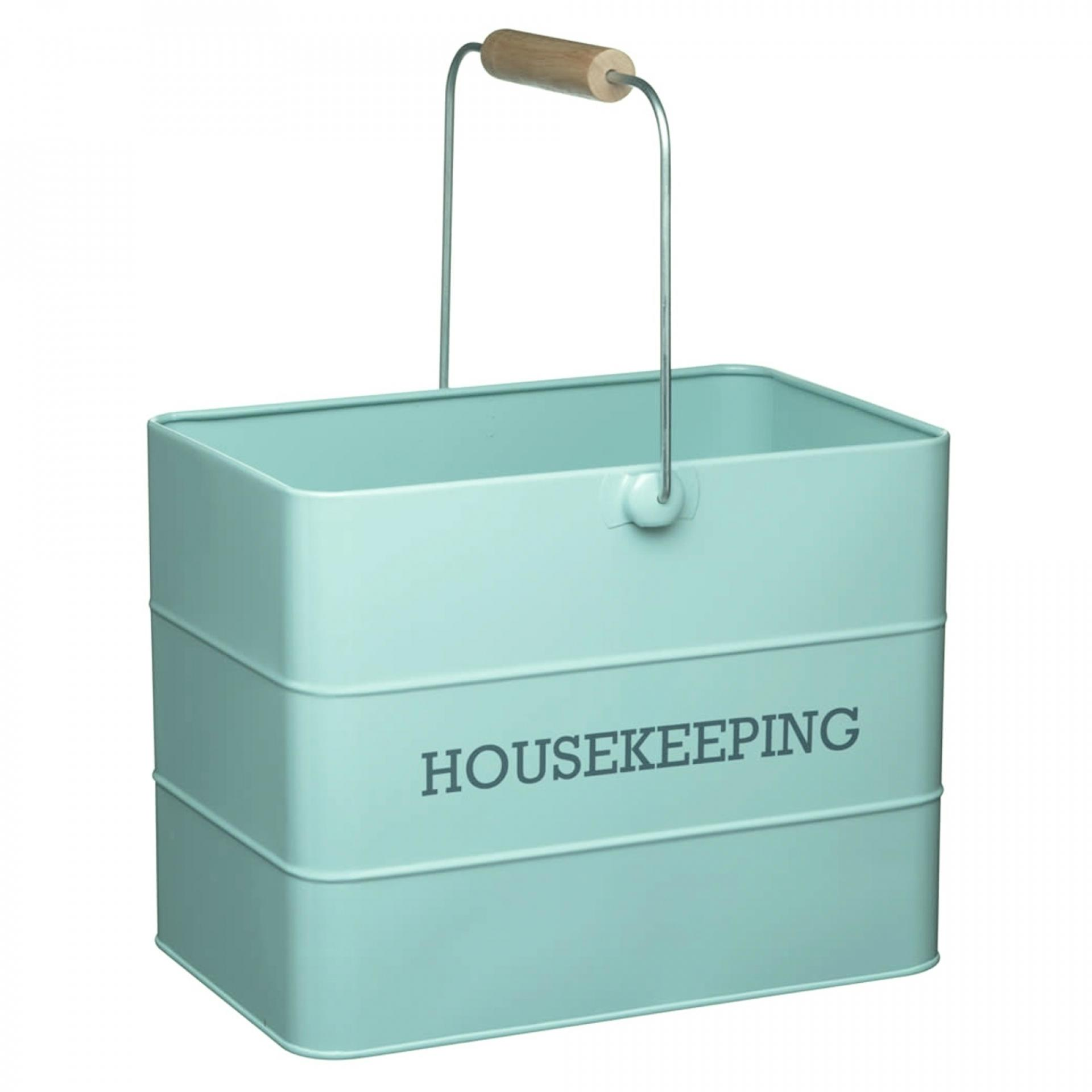 Kitchen Craft Plechový kyblík Housekeeping Vintage blue, modrá barva, zelená barva, kov