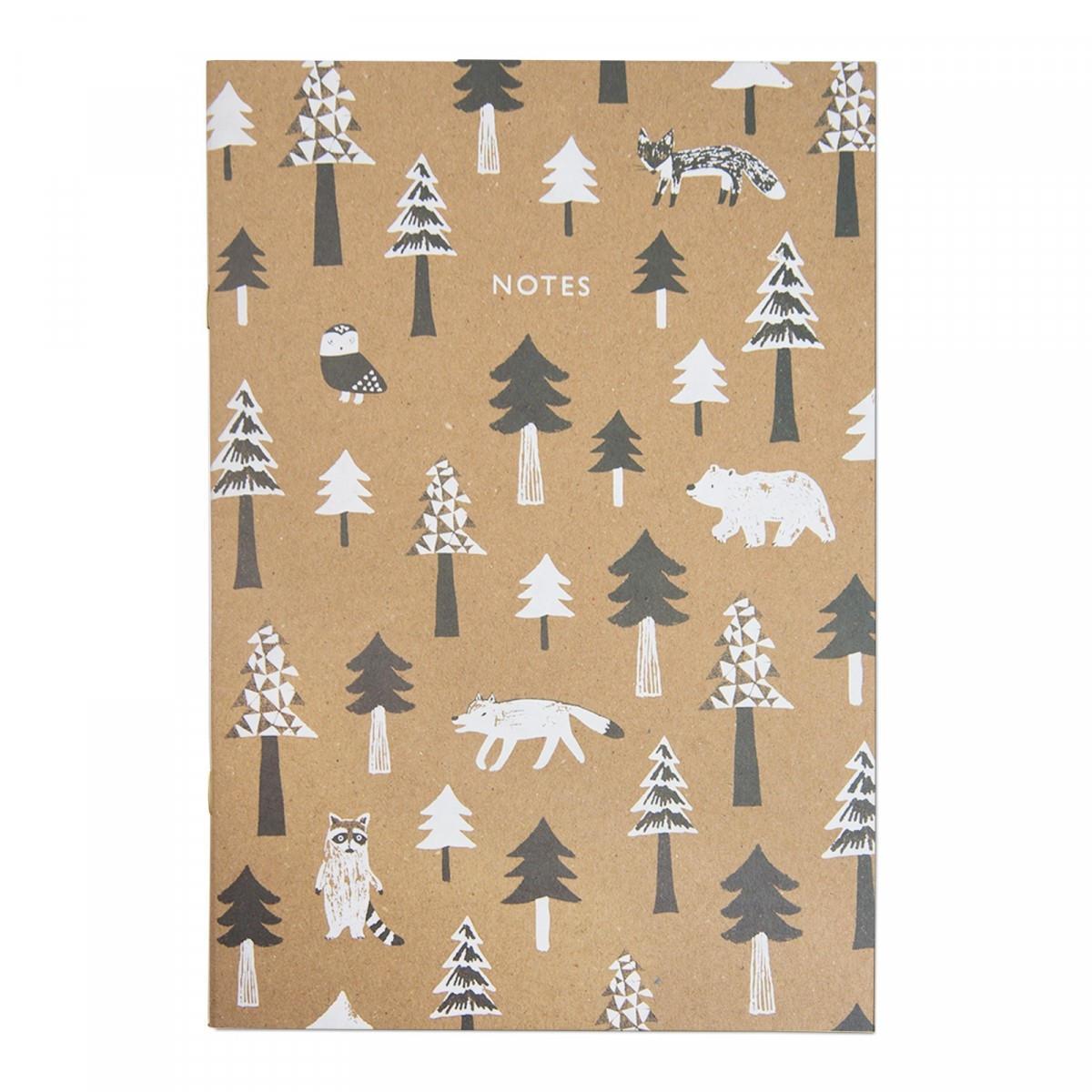 Ohh Deer Linkovaný sešit Scandi Treeline, bílá barva, hnědá barva, přírodní barva, papír