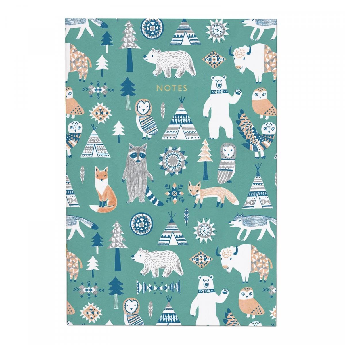 Ohh Deer Linkovaný sešit Scandi Woodland, zelená barva, multi barva, papír