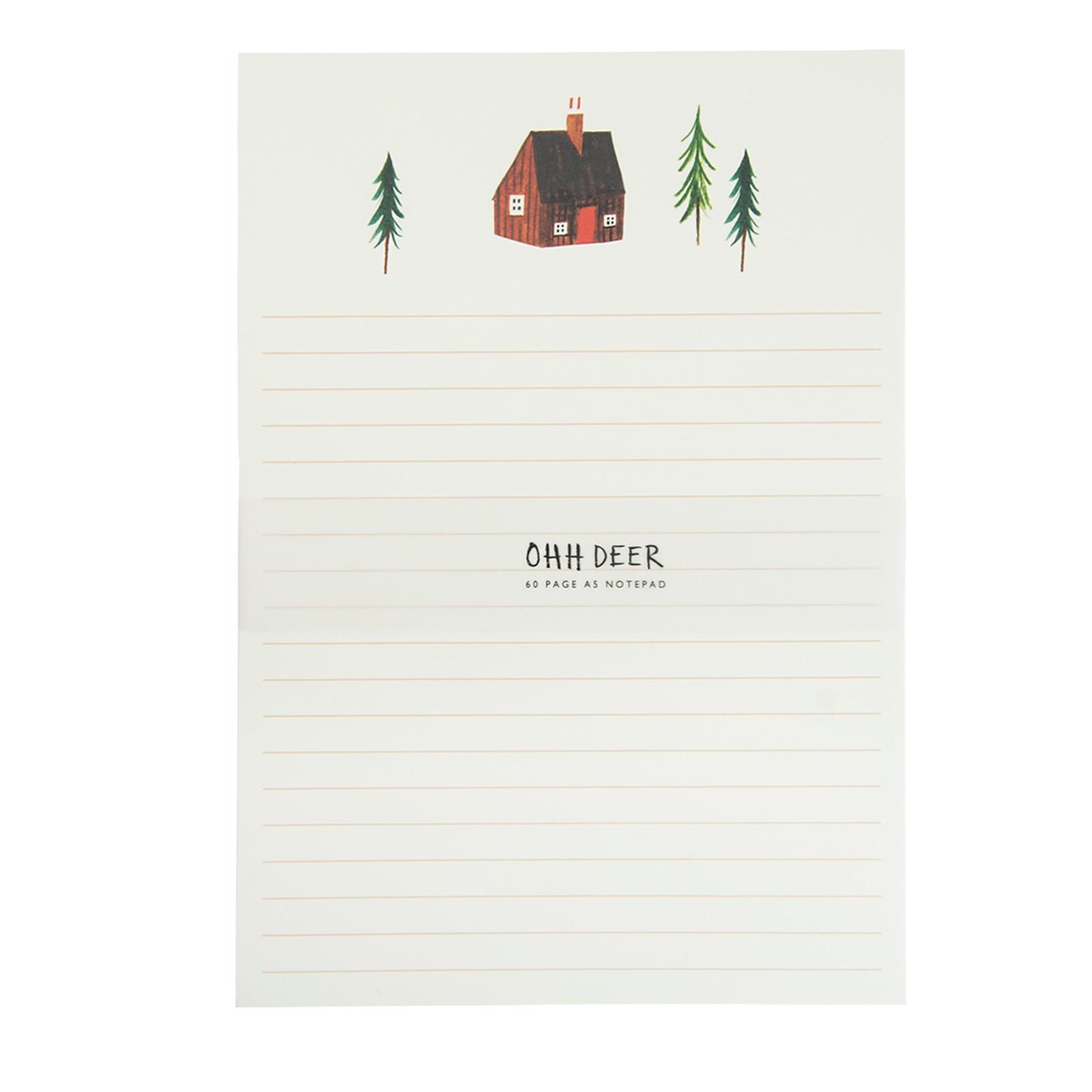 Ohh Deer Poznámkový blok Alpine Lodge A5, červená barva, zelená barva, papír