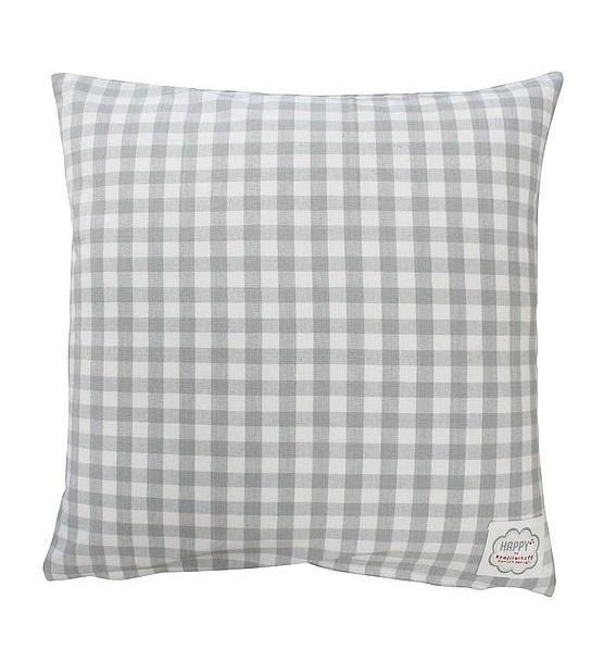Krasilnikoff Povlak na polštář Grey checker 50x50, šedá barva, textil