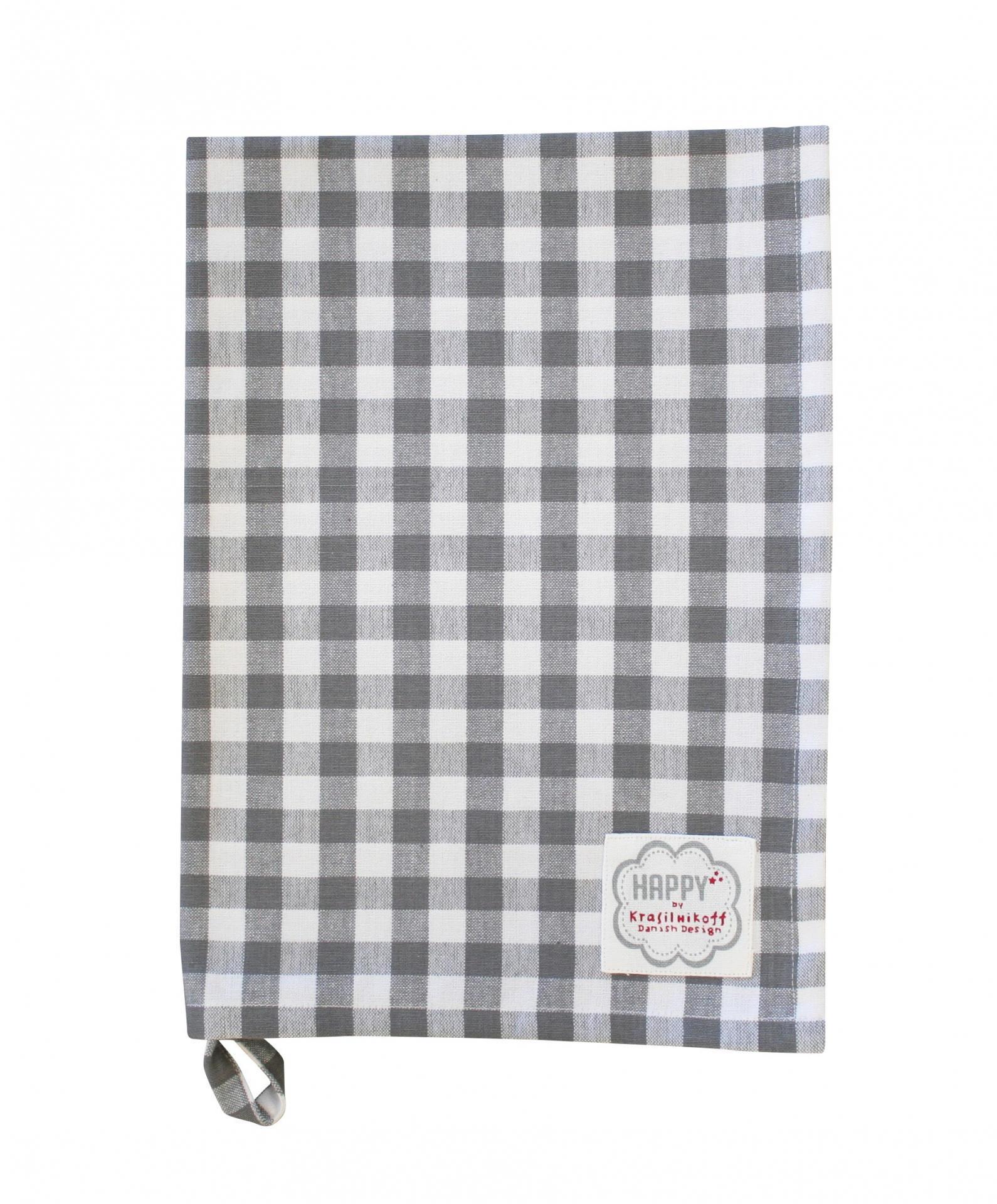 Krasilnikoff Utěrka Grey checker, šedá barva, textil