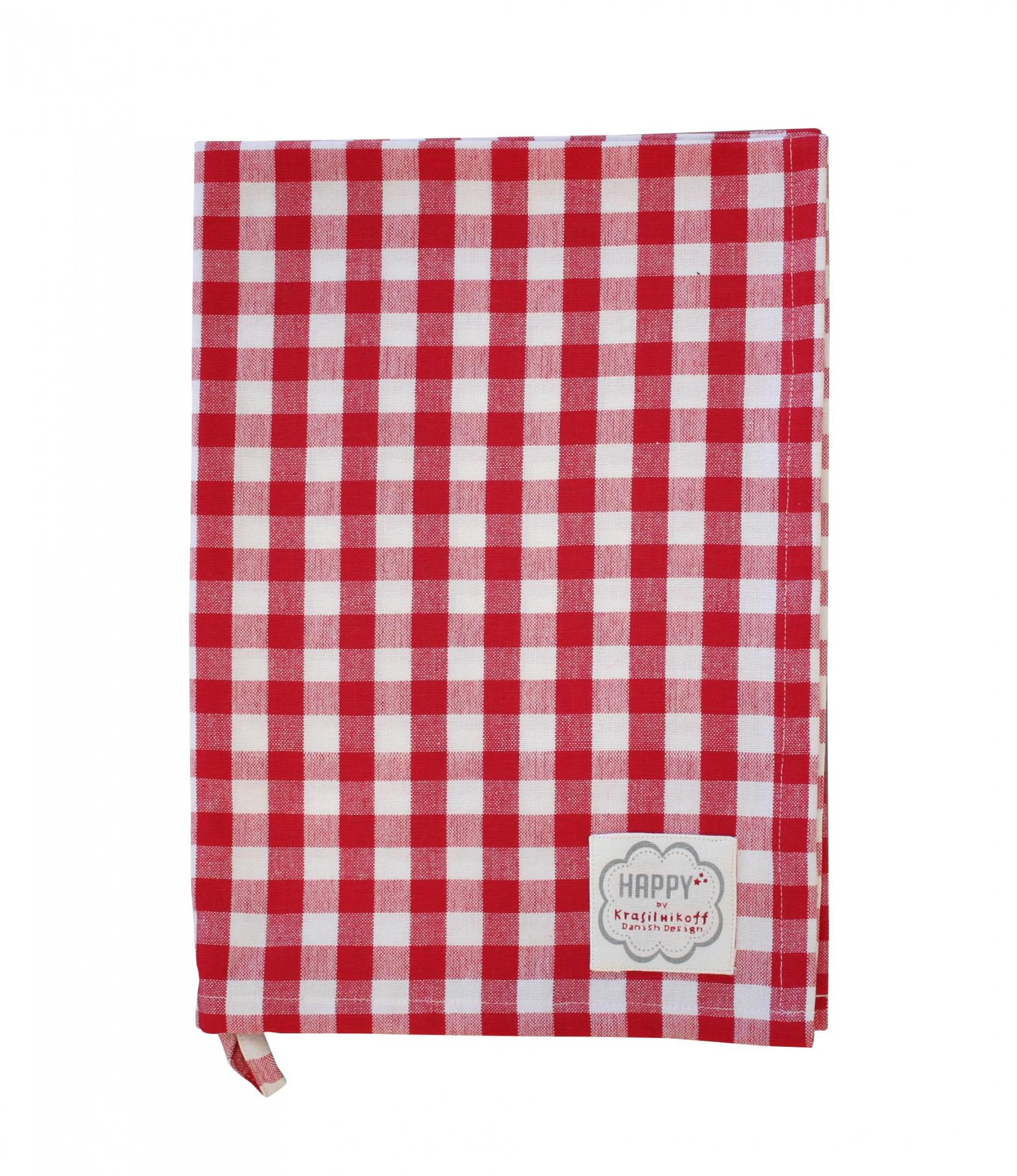 Krasilnikoff Utěrka Red checker, červená barva, textil