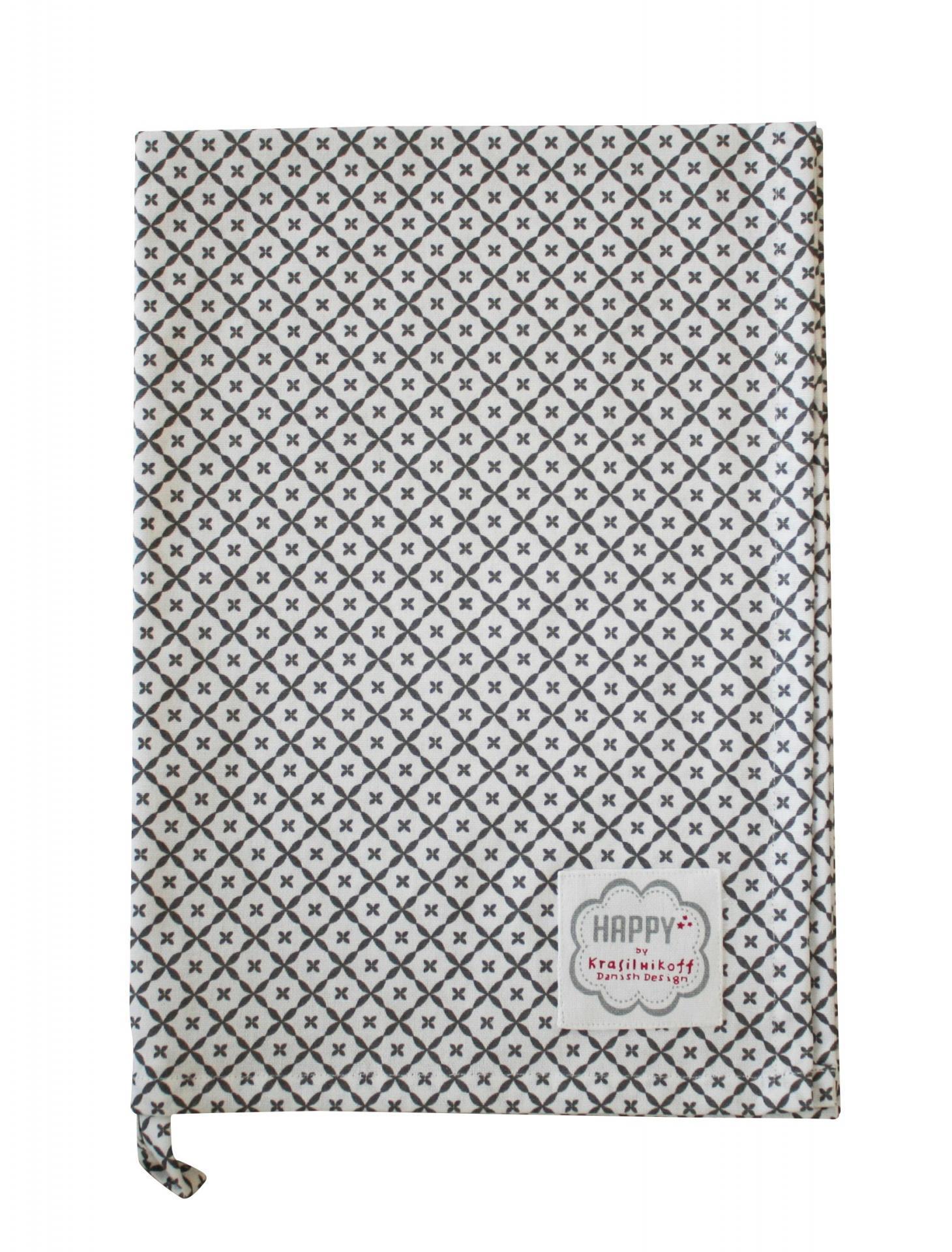 Krasilnikoff Utěrka Charcoal diagonal, šedá barva, textil