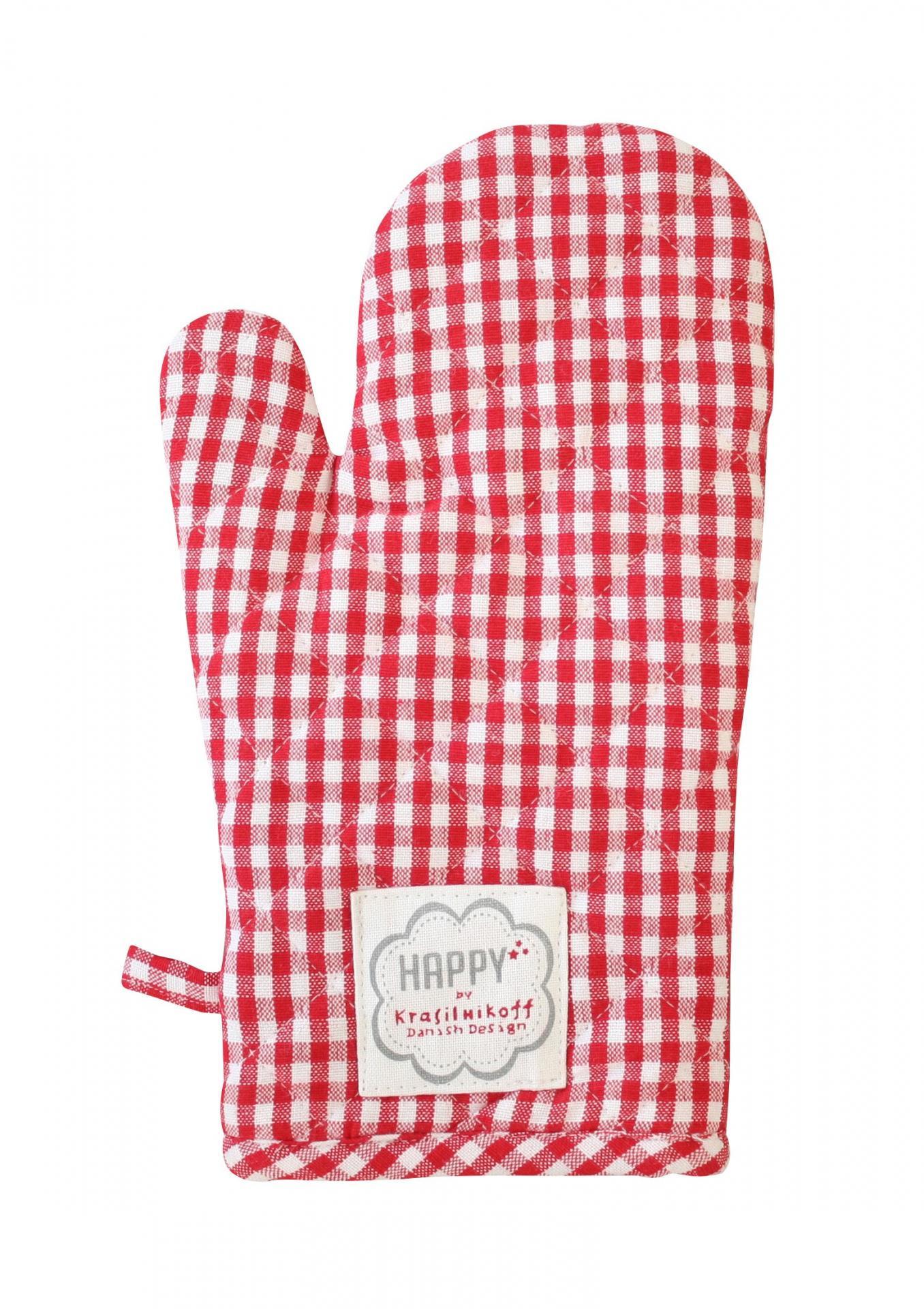 Krasilnikoff Chňapka Red checker, červená barva, textil
