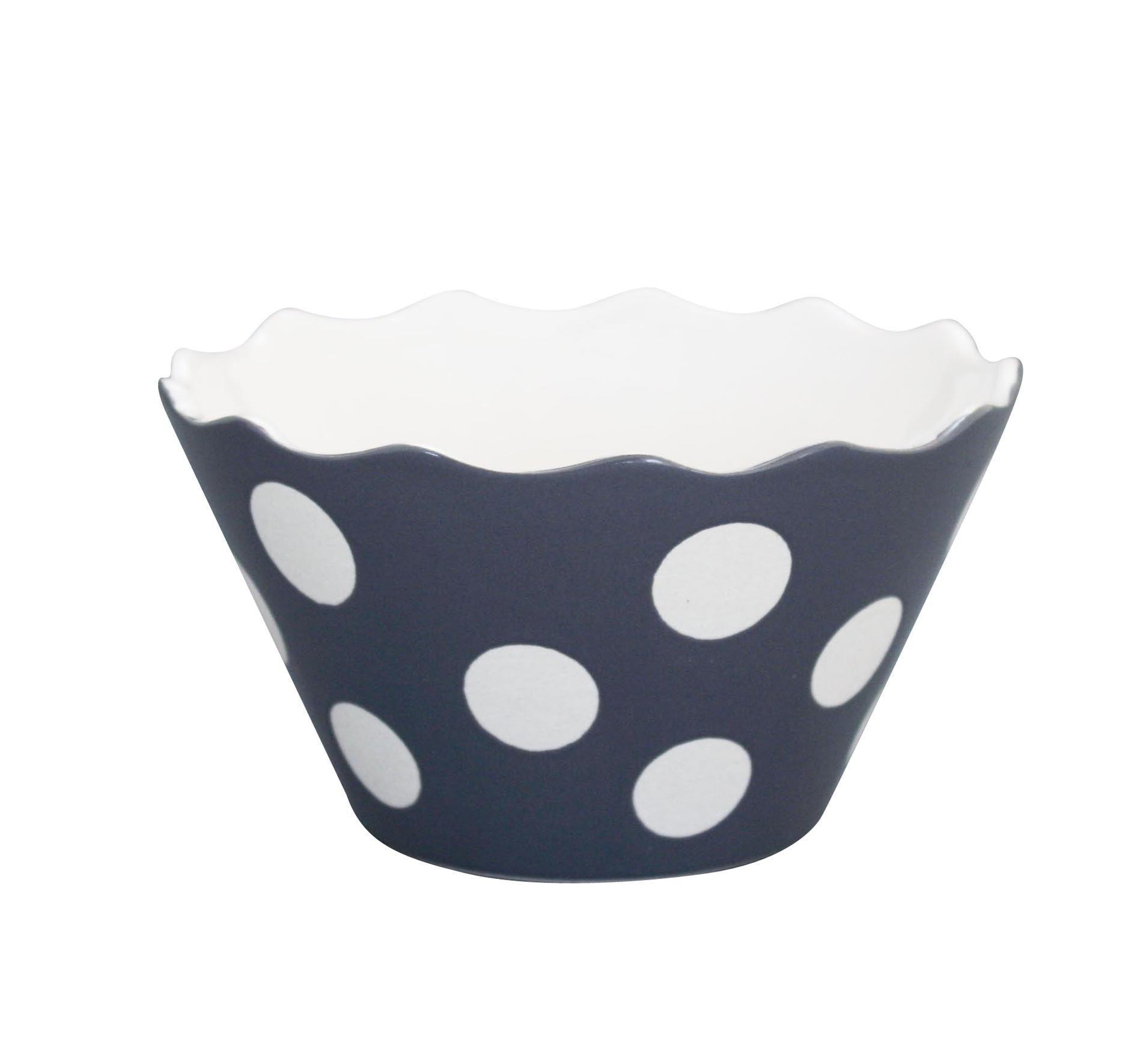 Krasilnikoff Mistička Charcoal big dots, šedá barva, keramika