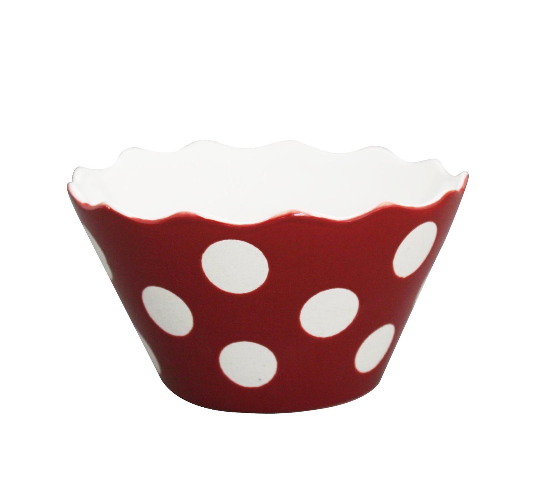 Krasilnikoff Mistička Red big dots, červená barva, porcelán